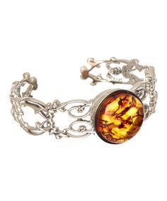 Amber & Sterling Silver Ornate Circle Cuff #zulily #zulilyfinds
