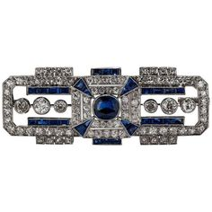 Preowned 1920s Art Deco Sapphire Diamond Platinum Brooch ($14,900) ❤ liked on Polyvore featuring jewelry, brooches, blue, 1920s jewelry, platinum jewelry, pin jewelry, deco brooch and blue sapphire jewelry