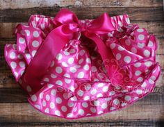 Hot Pink & White Polka Dot Satin Ruffle Bloomers- Minnie Mouse- Diaper Cover- Baby Girl Outfit- Newborn Outfit- Cake smash Outfit-Photo Prop on Etsy, $7.95