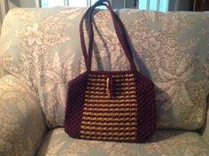 Macrame purse, garnet and gold.