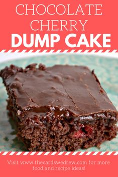 Double Chocolate Cherry Dump Cake - - Dump cakes are so easy, you literally DUMP all the ingredients into a pan and bake! This Chocolate Dump Cake recipe with Cherries is an easy cake recipe and so tasty! Chocolate Cherry Dump Cake, Chocolate Cake Mixes, Chocolate Cake With Cherries, Chocolate Chocolate, Dessert Simple, Dump Cake Recipes, Dessert Recipes, Cheesecake Recipes, Food Cakes