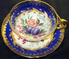 PARAGON-COBALT-BLUE-FRUIT-GOLD-ROSE-TEA-CUP-AND-SAUCER