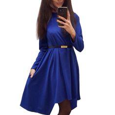 Women Solid Dress Autumn Casual Loose Office Lady Dresses Winter Long Sleeve  Elegant Vestidos 9f5ea54205de