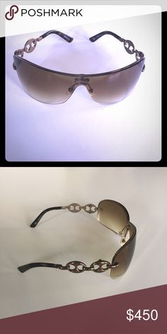 Gucci Shield Sunglasses with Chain Link Detail Brown gradient lenses. 100% UV protection. Gently worn. Good condition. A few small surface scratches that cannot be seen unless inspecting closely and does not affect vision, in my opinion. Gucci Accessories Sunglasses