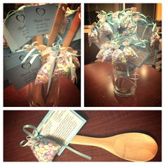 "Bridal Shower Favors for ""cooking theme"" - wooden spoons with m's and recipe tag personalized for the Bride to Be"