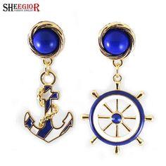 Punk Drop Earrings Asymmetry New Anchor & Rudder Long Earrings For Women Pendientes Largos Dangle Big Earring Fashion Jewelry