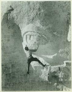 Carving eye on Mount Rushmore, 1930s