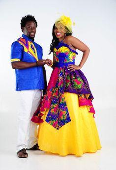 Tsonga Traditional Dresses, South African Traditional Dresses, African Traditional Wedding, Traditional Wedding Dresses, Chiffon Wedding Gowns, Dresses To Wear To A Wedding, Tea Length Wedding Dress, Wedding Dress Styles, Bridal Dresses
