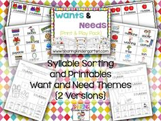 Are you teaching WANTS AND NEEDS soon? Grab this print and play pack to make it easy to Print. and play to learn all about wants & needs. Kindergarten Themes, Preschool Activities, Common Core Curriculum, Doctor Gifts, First Language, Play To Learn, Word Work, Childhood Education, Book Gifts