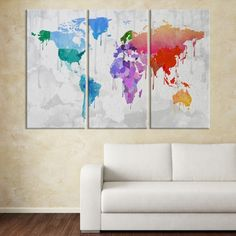 Large wall art rainbow coloured world map on old cream wall canvas watercolor predominantly blue and red colorful world map large wall art canvas mygreatcanvas gumiabroncs Gallery