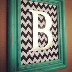 Painted frame, scrapbook paper, letter... super simple for a wall of framed photos