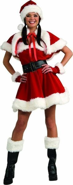4f23edb2bd6 Fully Lined Velvet Flirty Sexy Miss Santa Women s Adult Christmas Costume S  6 10
