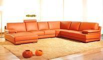 Orange Leather Sectional Sofa