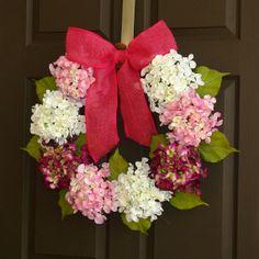 spring wreath hydrangea wreath Easter wreaths spring pink pastel wreaths front door spring wreaths decorations