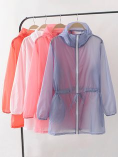 Women Drawstring Hooded Sun Protection Clothing is personalized, see other cheap plus size kimono tops on NewChic Mobile. Look Fashion, New Fashion, Fashion Outfits, Fashion Design, Plus Size Kimono, Coat Patterns, Rain Wear, Colorful Fashion, Rain Jacket