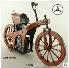 Tin Motorcycle Model - 1885 Benz - The World's First Motorcycle Cheap Decor Accessories | Home Decor Accents