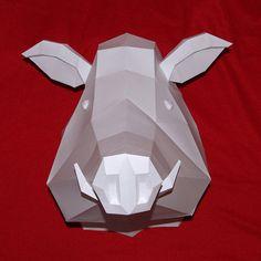 Trophy Wild Boar Pig Papercraft PRECUT by PaperwolfsShop on Etsy