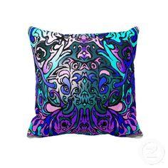 Alien Head Evil Species # 44 - blue and purple 2 Throw Pillow  $59.95