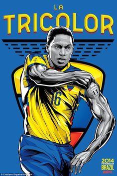 Manchester United winger Antonio Valencia shows off his tattoo in the Ecuador poster...