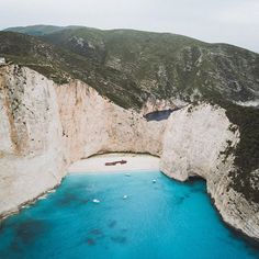Bird's eye view of Navagio Beach on Zakynthos Island, the definition of paradise.