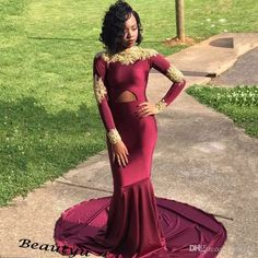 6ce8a8d4f004 Sexy Crop Top Mermaid Evening Dresses Long Sleeves High Neck Gold Lace  Burgundy Prom Dress 2017