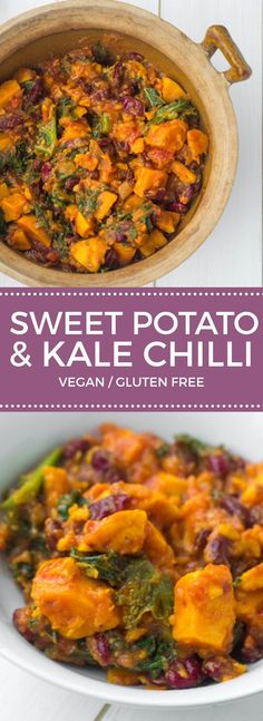 Vegan Sweet Potato and Kale Chilli,delicious flavours and healthy Recipe *for 4 2 Garlic cloves 2 large handfuls Kale 1 400 g tin Kidney beans 1 Onion 1 Red chili 1 400 g tin Tomatoes tsp Cayenne pepper tsp Cinnamon, ground 1 Salt & pepper 1 tbsp O Diet Recipes, Cooking Recipes, Healthy Recipes, Chilli Recipes, Kale Recipes Vegan, Vegan Chilli Recipe, Soup Recipes, Vegan Food, Cooking Pork