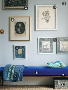 A nice idea from period living magazine showing how mix and match frame can add such character to a wall. Pick differing frames and mounts and a variety of prints and photos of differing size to create the effect you want.  #period living, #decorating