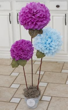 Bonsai of DIY tissue paper pom poms crafts - home decor, diy paper crafts