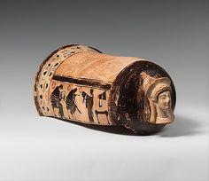 Terracotta onos (leg guard used in carding wool)  Akin to the Golonos Group  Period: Archaic Date: ca. 510–500 B.C. Culture: Greek, Attic Medium: Terracotta