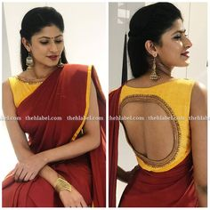e404524fa7fcf0 Mustard Yellow Blouse With Trendy Coin Embroidery Paired With Contrast  Maroon Saree