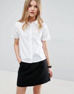 ASOS Boxy White Shirt with Short Sleeve