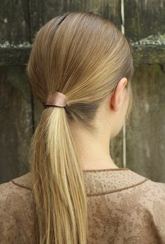 Textured copper hair tie simple metal ponytail holder girls womans fashion hair accessories hair fastener boho pony tail tie chic hair tie   Limited
