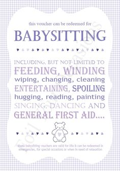 baby sitting vouchers great for a prizes for baby shower games available to buy