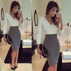 Buy Women OL Formal Business Work Stretch Dress 2016 Long Sleeve V-neck Plaid Patchwork Party Slim Bodycon Pencil Dress at Wish - Shopping Made Fun Business Outfit, Business Casual Outfits, Business Dresses, Office Outfits, Classy Outfits, Office Attire, Business Casual Female, Summer Business Attire, Business Chic