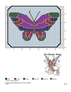 Mosaic Butterfly WH Plastic Canvas Crafts, Plastic Canvas Patterns, Craft Patterns, Quilt Patterns, Butterfly Cross Stitch, Swedish Weaving, Butterfly Fairy, Cross Stitch Animals, Cross Stitch Charts