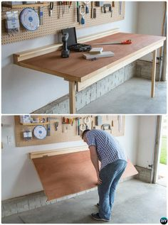 DIY Folding Workbench-Garage Organization and Storage DIY Ideas Projects