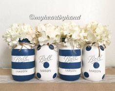 Painted and Distressed Ball Mason Jars- Navy Blue and Sage Green-Set of Vases Rustic Wedding Centerpieces Nautical Mason Jar Centerpieces Rustic Home Decor Baby Shower Centerpieces Wedding Flower Vases Painted Distressed Mason Jars Navy Blue Green Mason Jars, Pot Mason, Mason Jar Crafts, Mason Jar Diy, Bottle Crafts, Mason Jar Centerpieces, Baby Shower Centerpieces, Wedding Centerpieces, Distressed Mason Jars