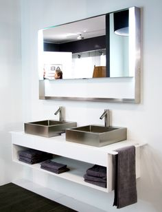 Stainless Steel Wash Basins On A White Cabinet By Abk Innovent