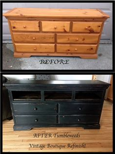 Vintage dresser up cycled into a trendy media console! DIY rustic plank shelf replaced the top 3 drawers. #TumbleweedsVintageBoutique