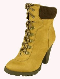 Rouge! By Soda Cute Military-style Combat Inspired Lace-up Ankle Bootie with Stacked Chunky Heels, chamois faux suede, 9 M Soda. $27.99