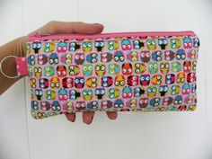 Mini Owls Pencil Case/cosmetic pouch-Just a few left.. $8.50, via Etsy.