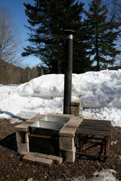 great idea here for making syrup Maple Syrup Tree, Maple Tree, Homestead Farm, Homestead Survival, Maple Syrup Evaporator, Bushcraft, Homemade Maple Syrup, Sugar Bush, Brick Bbq