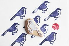 blue bird hand carved rubber stamp. woodland animal stamp. diy wedding birthday christmas. gift wrapping. card making.