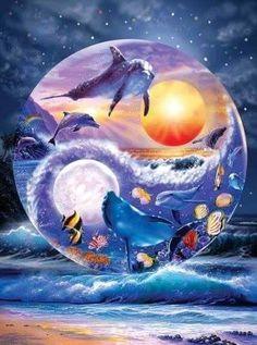 New round Diamond Painting Cross Stitch Yin and Yang animal Dolphins Kit DIY Set Embroidery Rhinestone Home Decor Dolphin Painting, Dolphin Art, Yin Yang Art, Hippie Art, 5d Diamond Painting, Cross Paintings, Diamond Art, Mosaic Patterns, Marine Life