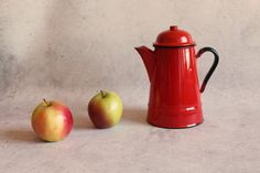Vintage milk can, red enamel can, made in Poland, milk jug, red pot