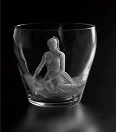 Glass bowl, designed and engraved by Domhnall OBroin as his apprentice piece 1955 Caithness Glass, Shot Glass, Tableware, Design, Dinnerware, Tablewares, Dishes, Place Settings