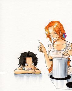 Portgas D. Rouge and Portgas D. Ace - one piece One Piece Ace, One Piece Manga, One Piece Drawing, One Piece Comic, One Piece Fanart, Manga Anime, Manga Art, Portgas Ace, Mugiwara No Luffy