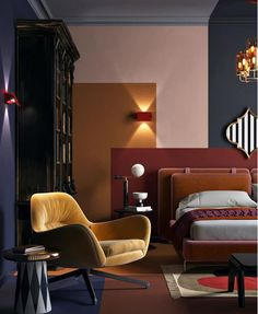 Geometric shapes, modern jewel toned bedroom with velvet and upholstered headboard.