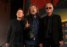 Robert Plant Photos Photos - (L-R) John Paul Jones, Robert Plant and Jimmy Page of Led Zeppelin attend a press conference to announce Led Zeppelin's new live DVD Celebration day at 8 Northumberland Avenue on September 21, 2012 in London, England. - Led Zeppelin - Press Conference