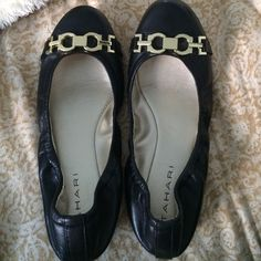 Worn once black flats! Black flats worn once in great condition. Beautiful gold metal strap details. True to size. No trades thanks! Tahari Shoes Flats & Loafers